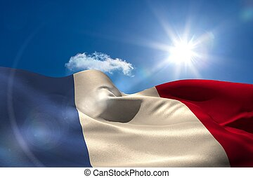 French national flag under sunny sky - Digitally generated...