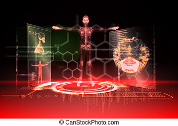 Medical interface in red and black - Digitally generated...