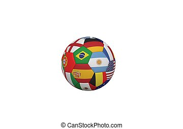 Football in multi national colours on white background