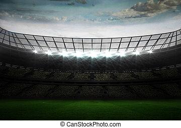 Large football stadium under blue sky - Digitally generated...