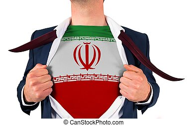 Businessman opening shirt to reveal iran flag on white...