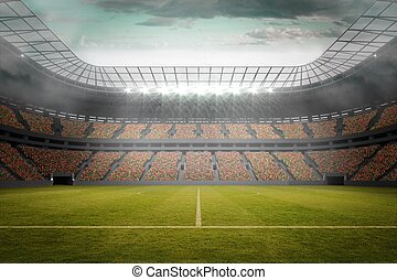 Football pitch in large stadium - Digitally generated...
