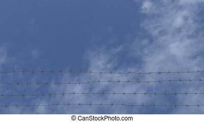 Barbed wire on a background of clou - Camcorder moves under...