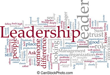 Leadership word cloud - Word cloud concept illustration of...