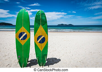Couple of Surfboard of Brazil, at Ilha Grande Tropical...