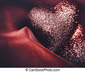 Abstract grungy Valentines backgrounds over red velvet mesh with