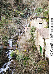 water mill on river waterfall in Galicia