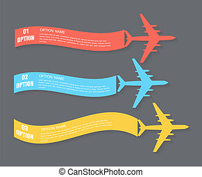 Retro Airplane Banner. Vector Illustration. - Colored Retro...