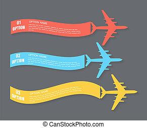 Retro Airplane Banner. Vector Illustration. - Colored Retro...