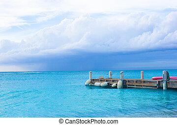 perfekt, karibisch,  Pier, Türken,  Caicos, Insel, sandstrand