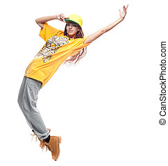 girl hip-hop dancer - young caucasian hip-hop dancer woman...