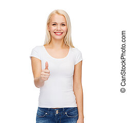 woman showing thumbs up - t-shirt design and happy people...