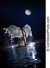 white angel - Beautiful dancing white angel on the moon...