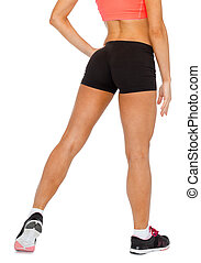 close up of female legs in sportswear - fitness, exercising...
