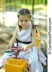 happy little gir - Portrait of happy little girl on...