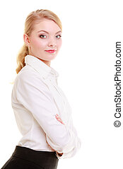 Portrait businesswoman. Elegant young woman blond girl isolated.