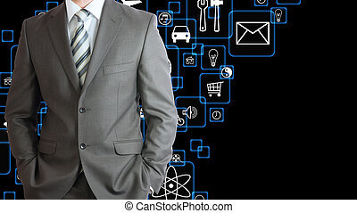 Man in suit and application icons. The concept of software