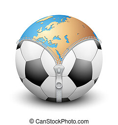 Planet Earth inside soccer ball - Planet Earth inside...