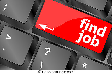 Searching for job on the internet Jobs button on computer...