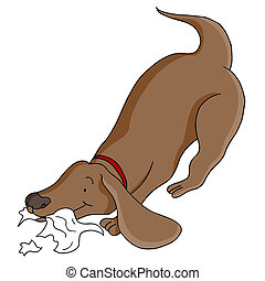 Dog Eating Paper - An image of a dog eating paper