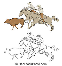 Cowboy Herding Cattle - An image of cowboys herding cattle.