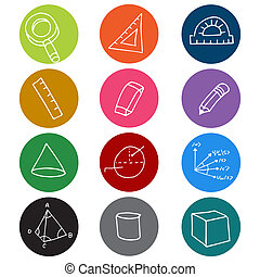 Geometry Icon Symbols - An image of colorful geometry icon...