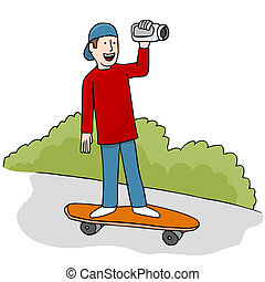 Skateboarding Video - An image of young man making a...