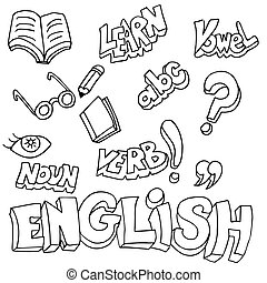 English Symbols and Learning Items - An image of english...