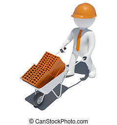 3d worker with wheelbarrow