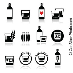 Whisky or Whiskey alcohol icons set - Vector icons set of...