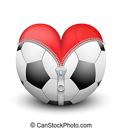 Red heart inside soccer ball - Red heart inside soccer and...