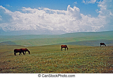 asian landscape - steppe, sheep and pamir mountains, oil...