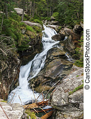 Long exposure photo of a fast mountain stream, , oil paint...