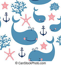 Seamless pattern with cute whales. Vector illustration.