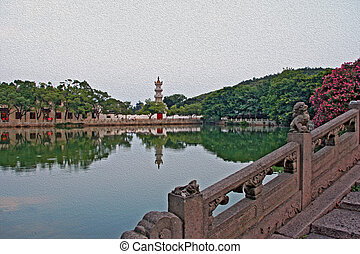 oil painting stylized photo of chinese garden, pond and...