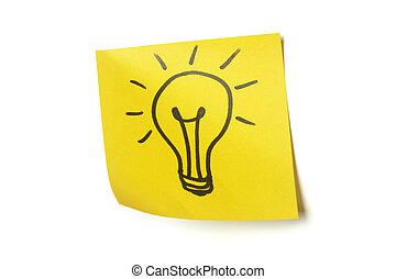 Lightbulb on sticky note