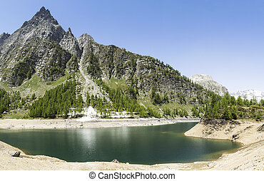 Devero Lake, spring season - Italy - Lake of Devero in...