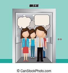 Elevator design over blue background, vector illustration
