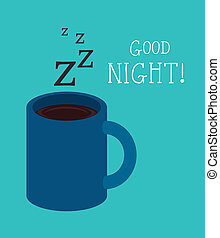 Good night design over blue background, vector illustration