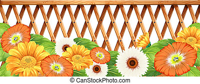 A fence with flowers - Illustration of a fence with flowers...