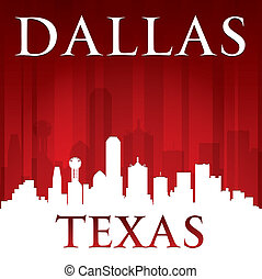 Dallas Texas city skyline silhouette red background - Dallas...