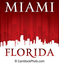 Miami Florida city skyline silhouette red background - Miami...