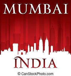 Mumbai India city skyline silhouette red background - Mumbai...
