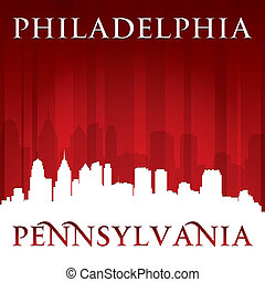 Philadelphia Pennsylvania city skyline silhouette red...