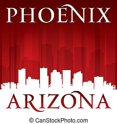 Phoenix Arizona city skyline silhouette red background -...
