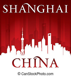 Shanghai China city skyline silhouette red background