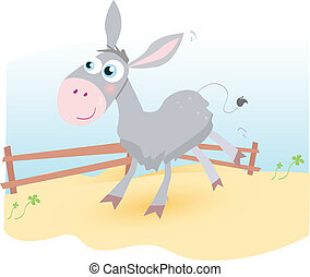 Donkey on farm - Funny animal Vector cartoon Illustration