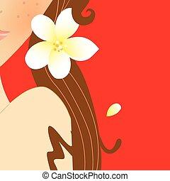 Jasmine lady - An elegant woman with jasmines Vector...