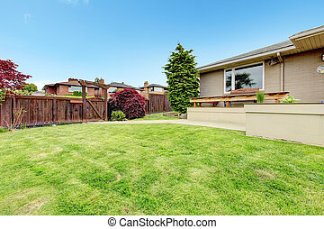Fenced backyard with deck view