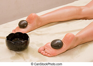 Stone massage in spa - Foot stone massage in spa